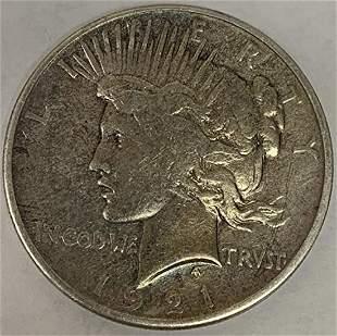1921 P Peace Silver Dollar Average Circulated $1 F-VF