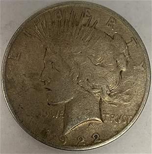 1922 P Peace Silver Dollar Average Circulated $1 F-VF