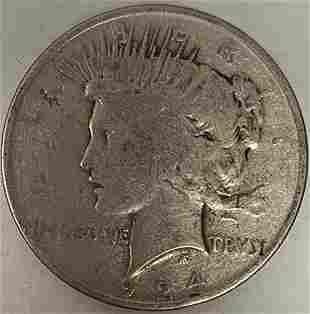 1924 P Peace Silver Dollar Average Circulated $1 G-VG