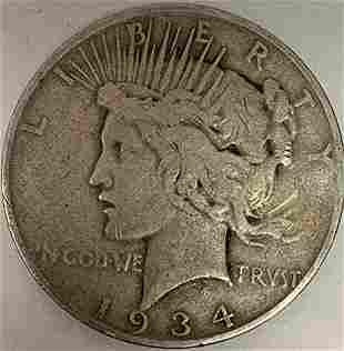 1934 D Peace Silver Dollar Average Circulated $1 G-VG