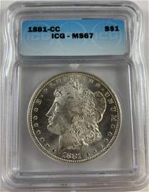 1881-CC $1 Morgan Silver Dollar ICG MS67 Nice Bright