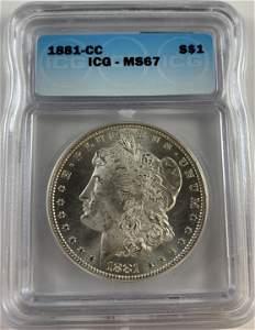 1881-CC $1 Morgan Silver Dollar ICG MS67 Nice Bright