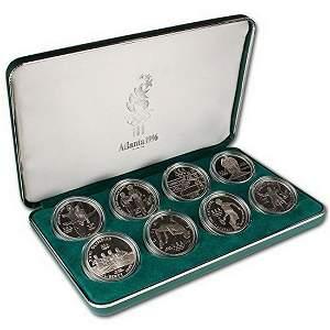 1996 P Atlanta Olympics Eight Coin Silver Set in OGP