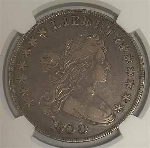 "1800 $1 Draped Bust Dollar ""AMERICAI"" Heraldic Eagle"
