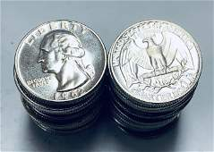 1962 Roll of 40 Washington Silver Quarters Proof