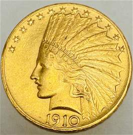 1910 $10 Gold Indian Head Ten Dollars Motto on Reverse