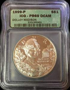 1999-P $1 Dolley Madison Commemorative Silver Dollar