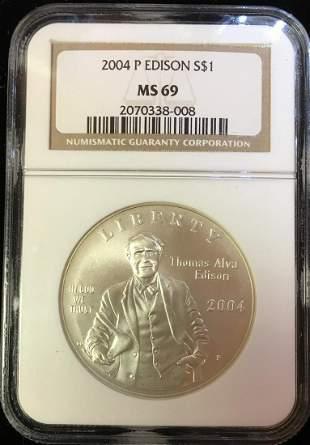 2004-P $1 Thomas Alva Edison Commemorative Silver