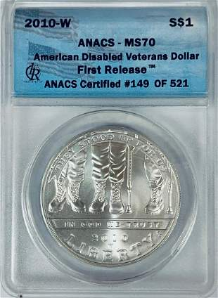 2010-W $1 American Disabled Veterans Commem Silver