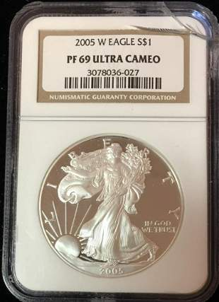 2005-W $1 Proof American Silver Eagle NGC PF69 Ultra