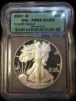 2007-W $1 Proof American Silver Eagle ICG PR69 DCAM -