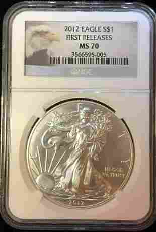 2012 $1 American Silver Eagle NGC MS70 Early Release -