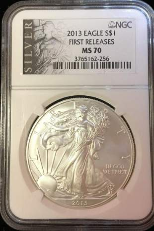 2013 $1 American Silver Eagle NGC MS70 First Release -