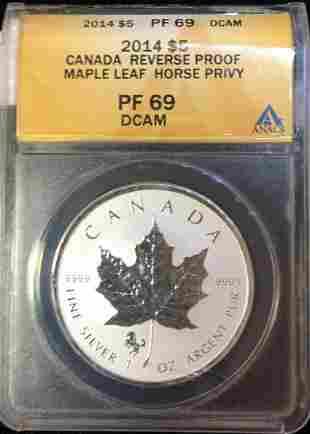 2014 Canada $5 Maple Leaf 1 oz Silver HORSE Privy ANACS
