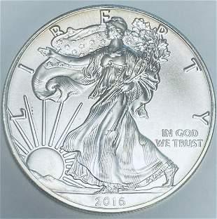 2016 $1 American Silver Eagle 1 oz Fine Silver