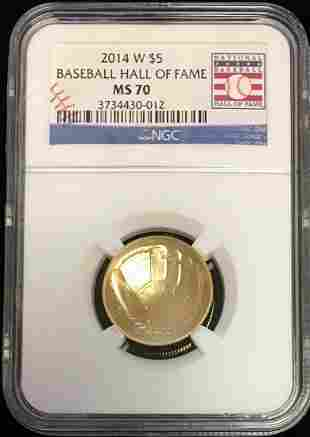 2014-W $5 Baseball Hall of Fame Commem Gold Five