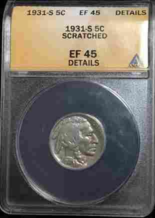 1931-S 5c Buffalo Nickel ANACS EF45 Details