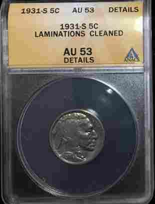 1931-S 5c Buffalo Nickel ANACS AU53 Details