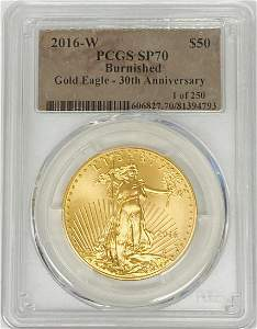 2016-W $50 American Gold Eagle PCGS SP70 Burnished 30th