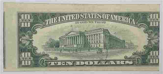 1969 $10 Federal Reserve Note New York Error - Faulty