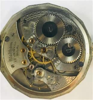 Vintage 14 Kt White Gold Waltham Pocket Watch 17 jewel