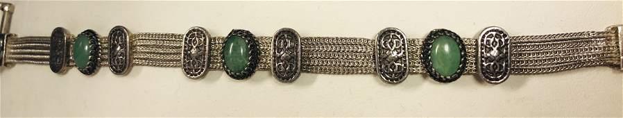 Sterling Silver Ladies Bracelet With Bezel Set Jade