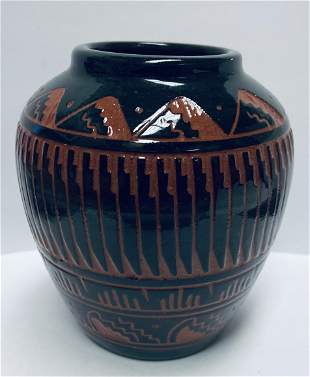 Native American Navajo Pottery Vase Signed & Numbered