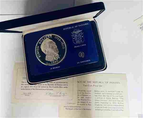 1976 Republic of Panama Proof Coins 20 Balboas Simon
