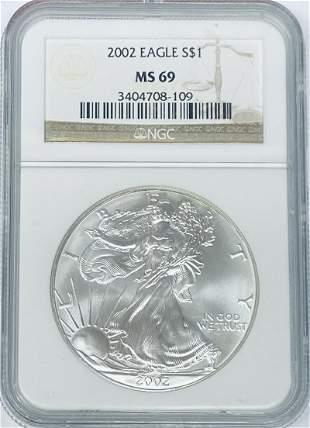 2002 $1 American Silver Eagle 1 oz. Fine Silver NGC