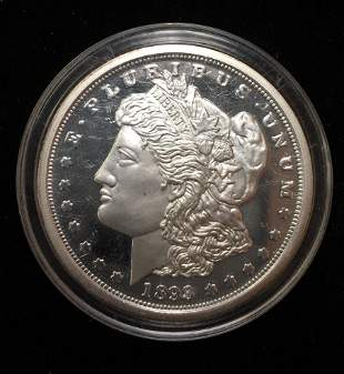 1893-CC Silver plated Copy of a Morgan Dollar Proof