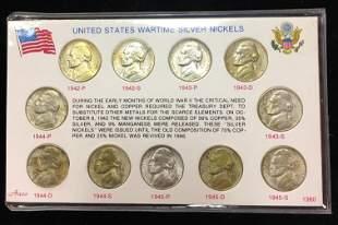 1942-1945 WWII US Wartime Silver Nickel BU Set in