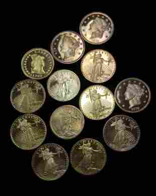 Set of 13 Copy of Early Gold US Coinage - One of them