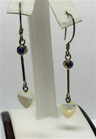 Sterling Dangle Hook Earrings w/ Genuine Moonstones