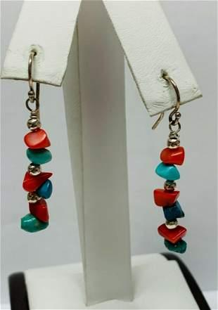 Sterling Dangle Hook Earrings w/ Red, Blue & Green Rock