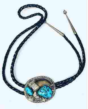HANDMADE NAVAJO TURQUOISE BOLO TIE MARKED .925 STERLING