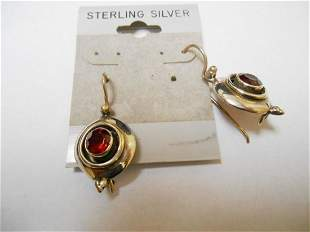 Sterling Earrings w/ Ruby Colored Stones *Snap Closure*