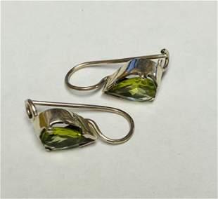 Peridot Teardrop Dangle Earrings w/ Snap Closure