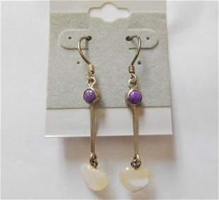 Sterling Dangle Hook Earrings w/ Heart Shaped Genuine
