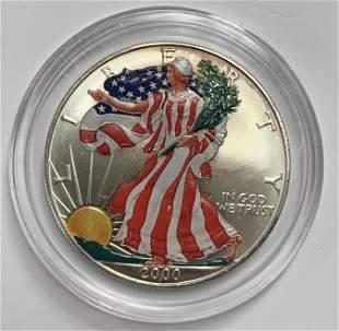 2000 $1 American Silver Eagle 1 oz Silver Colorized