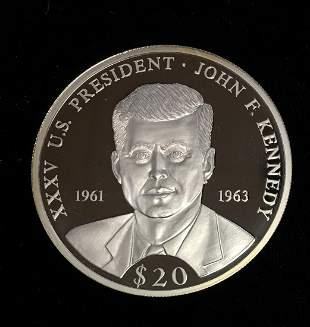 2000 Republic of Liberia $20 Proof .999 Fine Silver -