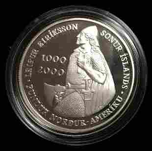 2000 Leif Ericson Silver Iceland Proof Crown 1000