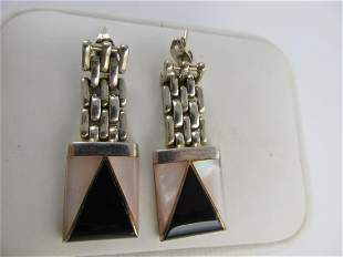 MEXICO INSET MOTHER PEARL ONYX SILVER TONE POSTED