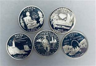 Lot of 5 - 2003-S Washington Silver Proof State