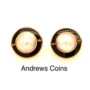 14K Yellow Gold Genuine Mabe Pearl and Onyx Earrings