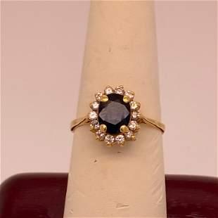 18 K Yellow Gold 7 x 5 Sapphire & .32 ct Diamond Ring