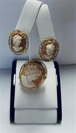 14k Ladies Yellow Gold Cameo Earring and Pendant / Pin