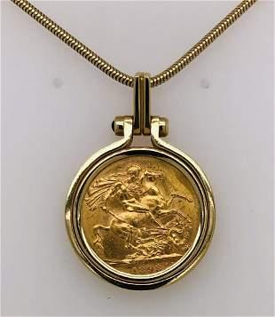 14k ladies Yellow Gold 22 k Sovereign Coin Pendant