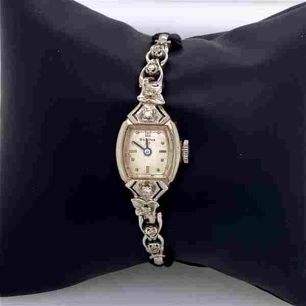 Vintage 14k Ladies White Gold Bulova Watch