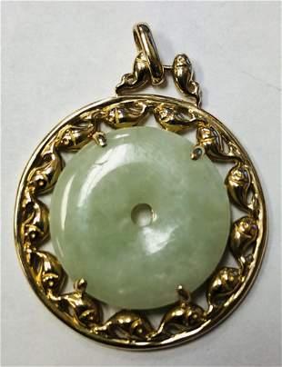 Magnificent 14k Ladies Yellow Gold Jade Pendant