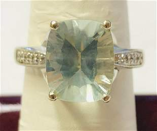 14k White Gold Ladies Light Green Fantasy Cut Quartz &